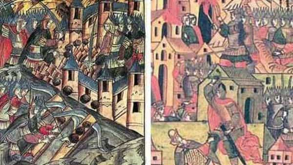 'Defence Of Kozelsk' on left is a 16th century miniature depicting a Mongol attack on Russia; and another painting from the period portraying the capture of a Russian city by the Mongols. Photographs from Wikimedia Commons