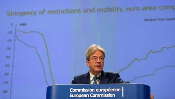 European Commissioner for Economy Paolo Gentiloni speaks during a media conference on the summer 2020 economic forecast at EU headquarters in Brussels, Belgium  (Reuters)