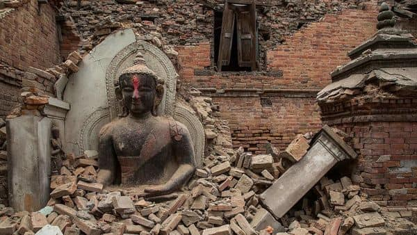 The Gorkha earthquake of 2015 in Nepal caused widespread devastation in the Kathmandu valley and destroyed several historical temples and monasteries. Getty Images