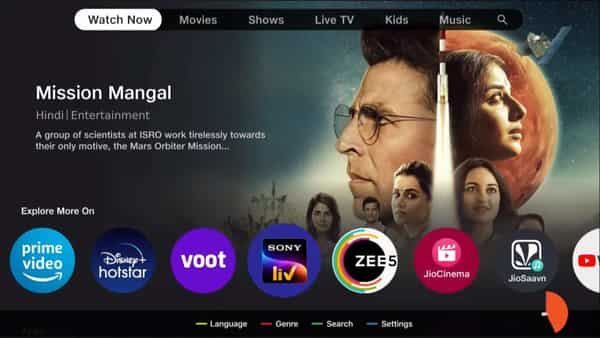 12 OTT platforms including Netflix, Amazon Prime, Disney Hotstar, Sony LIV, can be browsed on the interface