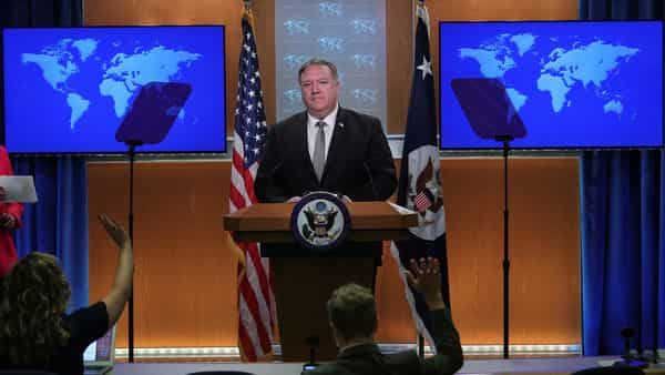 U.S. Secretary of State Mike Pompeo takes questions during a news conference at the State Department in Washington, (REUTERS)