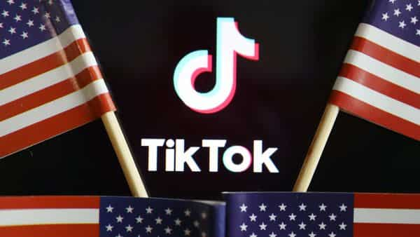 US flags are seen near a TikTok logo in this illustration picture. (Reuters)