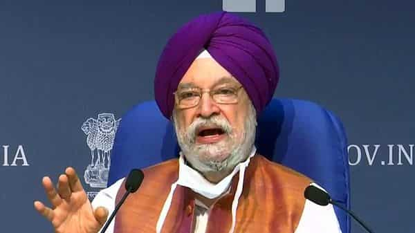 Civil Aviation Minister Hardeep Singh Puri speaks at a press conference, in New Delhi on Thursday.  (Photo: ANI)