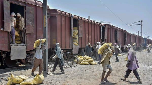 Mathura: Labourers unload sacks of cement from a goods train, during the ongoing COVID-19 lockdown, in Mathura, Tuesday, May 19, 2020. (PTI Photo)(PTI19-05-2020_000078B) (PTI)