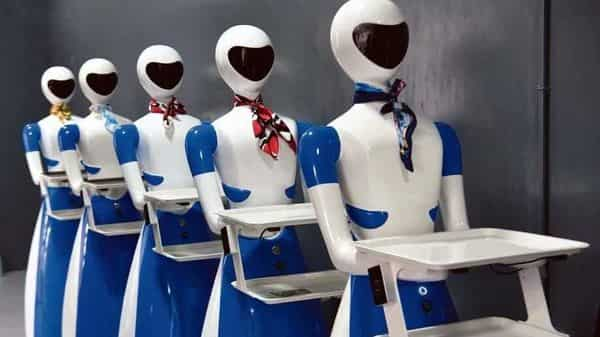 Service robots at the Robot Restaurant in Bengaluru on its opening day last year.