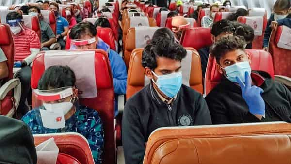 An Air India flight carrying 334 passengers leaves Chicago for India. Indian nationals, stranded in various countries amid COVID-19 pandemic, are being repatriated under Vande Bharat Mission. (PTI)