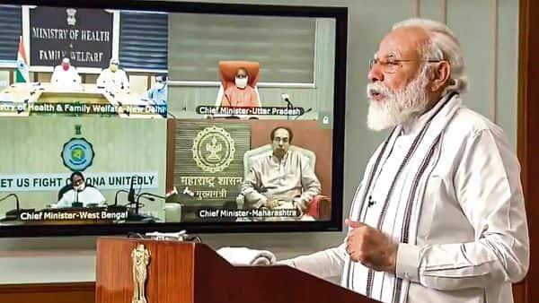 Prime Minister Narendra Modi launches 3 covid testing facilities via video conferencing, in New Delhi on Monday. (PTI)