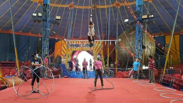 Crew members of Rambo circus practise every day in Airoli, Maharashtra, where they have been stuck since the nationwide lockdown started in March.