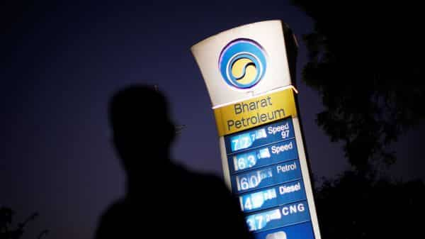 FILE PHOTO: A Bharat Petroleum oil pump station displays the price of unleaded petrol (REUTERS)