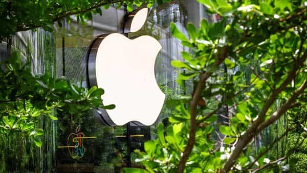 The Apple logo is pictured outside the newly-opened Apple store in downtown Bangkok on July 31, 2020. (Photo by Mladen ANTONOV / AFP) (AFP)