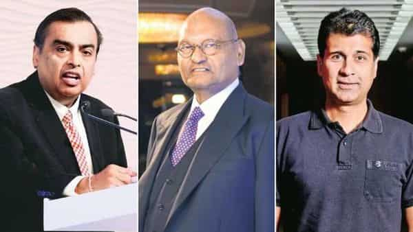 Reliance Industries chairman Mukesh Ambani (left), Vedanta Group chairman Anil Agarwal (centre) and Bajaj Auto managing director Rajiv Bajaj (right). They are at the helm of companies that have significant presence in their respective sectors.