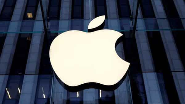The Apple Inc logo is seen hanging at the entrance to the Apple store on 5th Avenue in Manhattan, New York. (REUTERS)