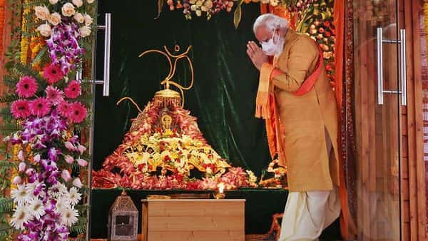 Ayodhya: Prime Minister Narendra Modi offers prayers while attending the foundation stone laying ceremony for the construction of the Ram Mandir, in Ayodhya. (PTI)