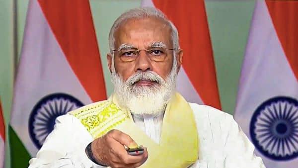 Prime Minister Narendra Modi inaugurates Submarine Optical Fibre Cable Connectivity between Chennai and Andaman and Nicobar Islands via video conferencing, in New Delhi. (PTI)