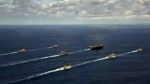 Indian Navy holds passage exercise with US Navy's Nimitz Aircraft Carrier in the Indian Ocean on Monday. (ANI Photo)