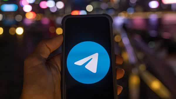 The Telegram app is arranged for a photograph on a smartphone (Bloomberg)