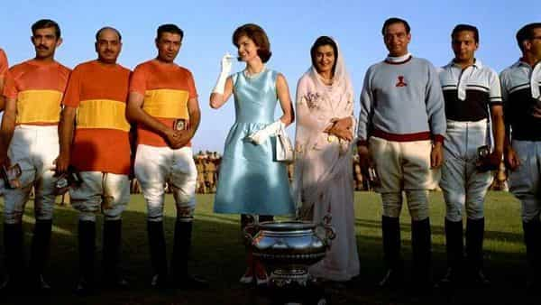 US First Lady Jackie Kennedy with Gayatri Devi and Man Singh II at a polo exhibition match in Jaipur, 1962. Man Singh II would die on the polo field in 1970, aged fifty-seven. (Wikimedia Commons)