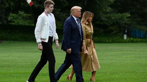 US President Donald Trump, First Lady Melania Trump and their son Barron. (REUTERS)
