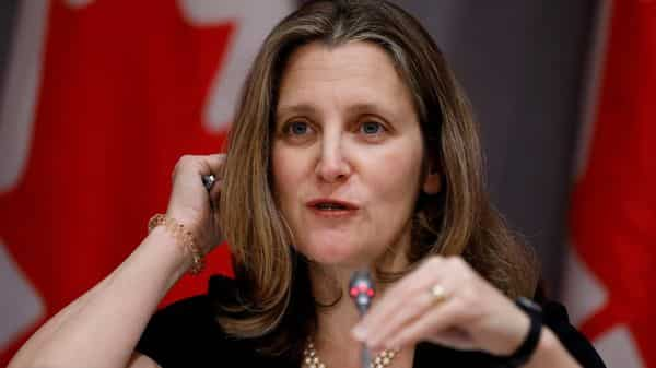 Canada's Deputy Prime Minister Chrystia Freeland attends a news conference as efforts continue to help slow the spread of coronavirus disease (COVID-19) in Ottawa, Ontario, Canada March 23, 2020.  (REUTERS)