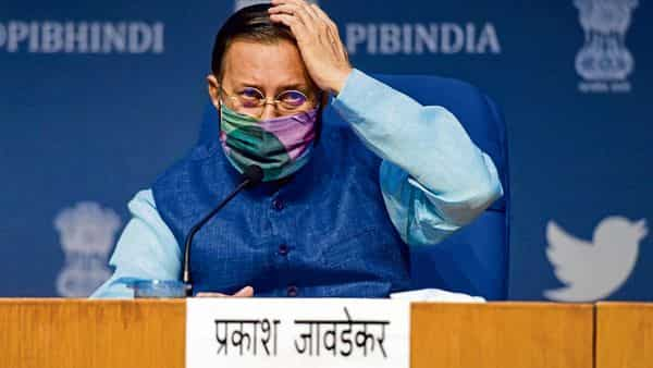 Union minister Prakash Javadekar during a press conference on cabinet decisions in New Delhi on Wednesday. (PTI)