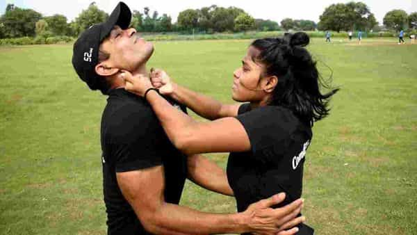Commando Fitness Club's Balram Kundu showing how women can use self-defence pressure points to immobilize an assailant.