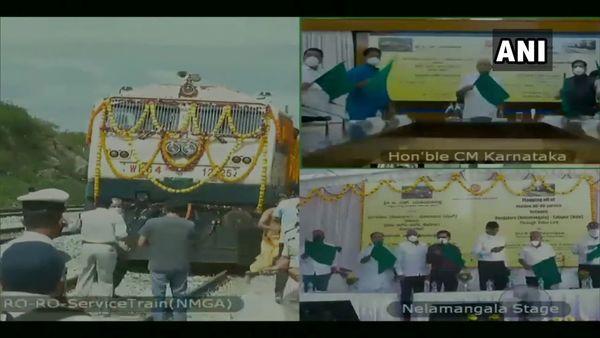 Karnataka Chief Minister BS Yediyurappa flags off Roll-On/Roll-Off (RO-RO) train. (ANI)