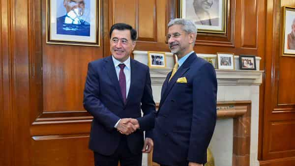 File Photo: External affairs minister S. Jaishankar shakes hands with Vladimir Norov, Secretary General of Shanghai Cooperation Organisation, in New Delhi (PTI)
