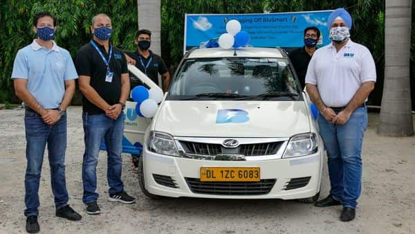 BluSmart Mobility CEO and Co-founder Anmol Singh Jaggi (extreme right) with other executives at the launch of their Delhi-Mumbai service. (PTI)