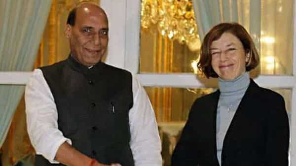 Defence Minister Rajnath Singh with French Minister of Armed Forces, Florence Parly in Paris on Tuesday. (ANI)