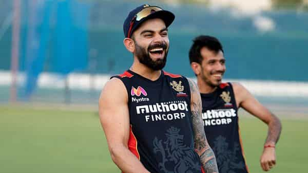 Royal Challengers Bangalore Skipper Virat Kohli with Yuzvendra Chahal during the net practice ahead of the upcoming IPL session, in Dubai. (ANI)