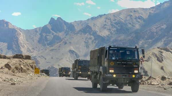 Leh: Army trucks move towards LAC eastern Ladakh, amid the prolonged India-China stand off, in Leh, Saturday, Sept. 12, 2020. (PTI Photo)