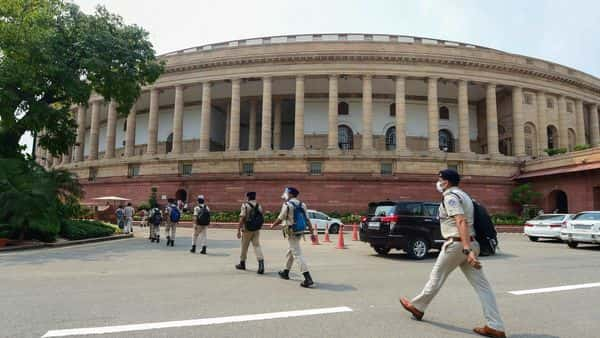 Security personnel at Parliament House on the opening day of Monsoon Session, in New Delhi (PTI)