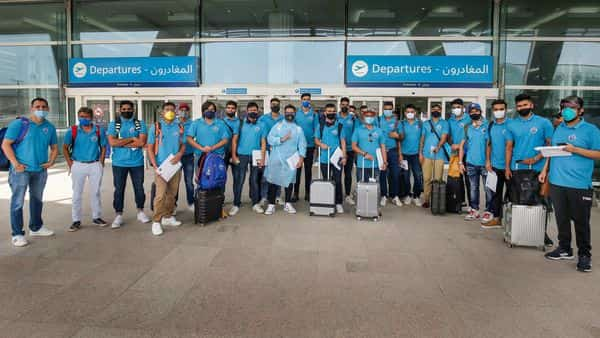 Delhi Capitals players pose for photographs after arriving in UAE to participate in IPL 2020. (PTI)