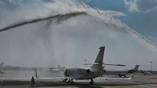 New Delhi: A private jet being accorded water salute during the inauguration of General Aviation Terminal by Civil Aviation Minister Hardeep Singh Puri  (PTI)