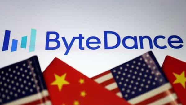 Flags of China and U.S. are seen near a Bytedance logo in this illustration picture. (REUTERS)