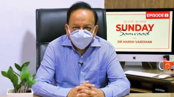 The Union Minister for Health & Family Welfare, Science & Technology and Earth Sciences, Dr. Harsh Vardhan interacting with social media users during Sunday Samvaad-2, in New Delhi on Sunday. (ANI Photo)