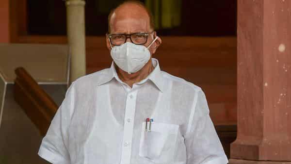 Nationalist Congress Party (NCP) MP Sharad Pawar arrives at Parliament House to attend the ongoing Monsoon Session, in New Delhi, Tuesday (PTI)