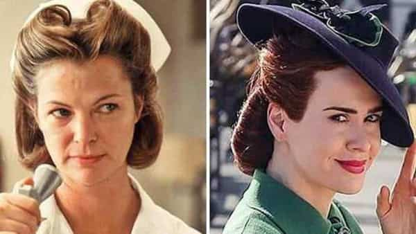 Louise Fletcher and (right) Sarah Paulson play Nurse Ratched in 'One Flew Over the Cuckoo's Nest' and 'Ratched' respectively