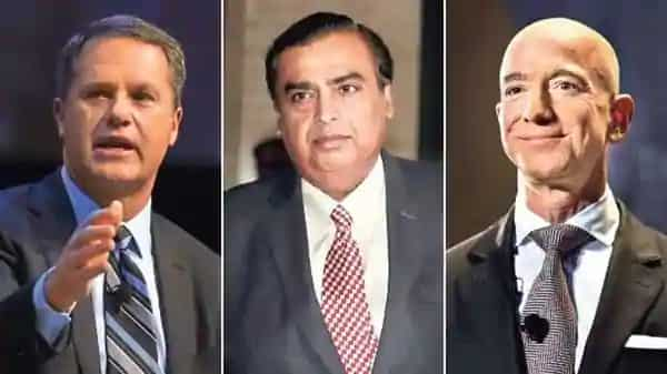 (From left to right) Doug McMillon, CEO of Walmart, which owns Flipkart; Mukesh Ambani, chairman and MD of RIL; Jeff Bezos, CEO of Amazon