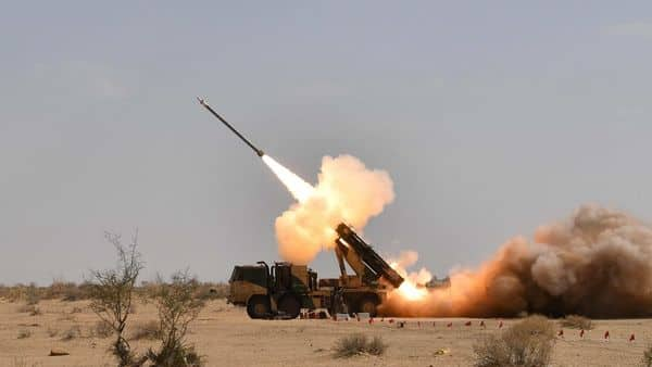 Pokhran: Defence Research and Defence Organisation (DRDO) successfully test fired the indigenously developed Pinaka guided rocket system, at Pokhran, Monday, March 11, 2019. (PTI Photo)(PTI3_11_2019_000159B)