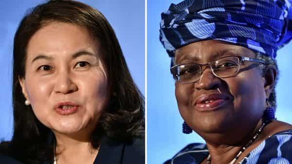 (COMBO) This combination of file pictures created on October 7, 2020, shows South Korean Trade Minister Yoo Myung-hee (L) in Geneva on July 16, 2020; and Nigerian former Foreign and Finance Minister Ngozi Okonjo-Iweala (R) in Geneva, July 15, 2020, as they give press conferences as part of their application process to head the WTO as Director General. - Two women, Yoo Myung-hee of South Korean and Ngozi Okonjo-Iweala of Nigeria, remain in the running to lead the World Trade Organization, sources familiar with the decision said on October 7, 2020, in what will be a first for the trade body. The official announcement of the two candidates left standing is expected on October 8, 2020. (Photo by Fabrice COFFRINI / AFP) (AFP)