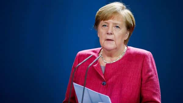 German Chancellor Angela Merkel gives a statement following her video conference with officials from Germany's largest cities in Germany on Covid-19, on October 9, 2020 at the Chancellery in Berlin  (AFP)