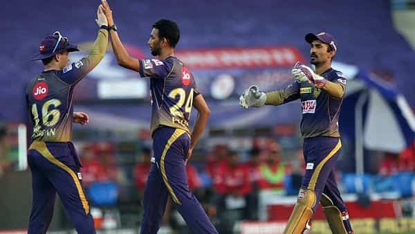 Prasidh Krishna of Kolkata Knight Riders celebrates a wicket during match 24 of season 13 of the Dream 11 Indian Premier League (IPL) between the Kings XI Punjab and the Kolkata Knight Riders at the Sheikh Zayed Stadium in Abu Dhabi on Saturday (ANI)
