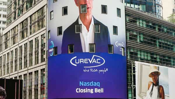 In this photo taken from video provided by Nasdaq, CureVac AG CEO Dr. Franz-Werner Haas is shown on the NasdaqMarketSite video facade in Times Square, virtually ringing the closing bell, marking his company's listing, Friday, Aug. 14, 2020, in New York. (Nasdaq MarketSite via AP) (AP)