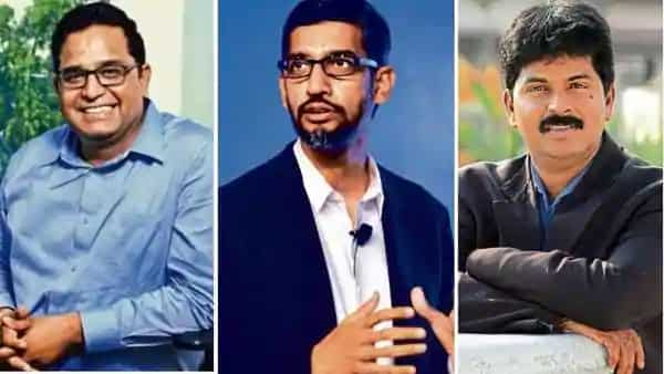 (From left) Vijay Shekhar Sharma, founder of Paytm; Sundar Pichai, CEO, Google; and Murugavel Janakiraman, founder, Matrimony