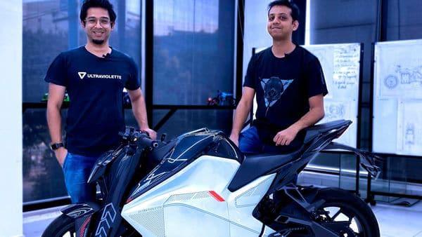 Ultraviolette Automotive CEO Narayan Subramaniam (left) and CTO Niraj Rajmohan pose with the prototype electric bike F77.