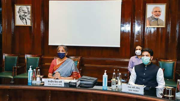 Finance minister Nirmala Sitharaman and minister of state for finance Anurag Thakur at the GST Council meeting in Delhi. PTI