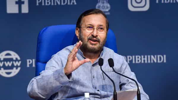 New Delhi: Union Minister of Environment, Forest and Climate Change Prakash Javadekar addresses a press conference on cabinet decisions, in New Delhi, Wednesday, Oct. 14, 2020. (PTI Photo/Manvender Vashist)(PTI14-10-2020_000109B) (PTI)