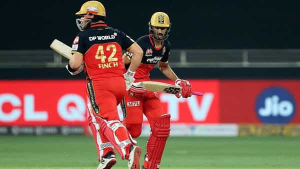 Devdutt Padikkal and Aaron Finch of Royal Challengers Bangalore during the third Match of IPL 2020 against Sunrisers Hyderabad, at the Dubai International Cricket Stadium in Dubai. (ANI)
