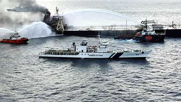 Firefighting efforts by Indian Coast Guard (ICG), Sri Lanka ships, tugs and ETV Ocean Bliss reduced fire considerably onboard MT New Diamond. ICG handed over 2200 kgs dry chemical powder to Sri Lankan authorities at Trincomalee on Tuesday, to augment aerial firefighting efforts. (ANI Photo)